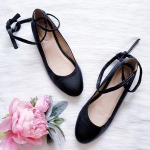 Franco Sarto Blake Leather Ankle Wrap Ballet Flat